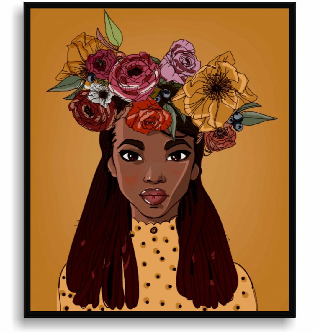 Quadro Decorativo Ilustração Menina com Coroa de Flores