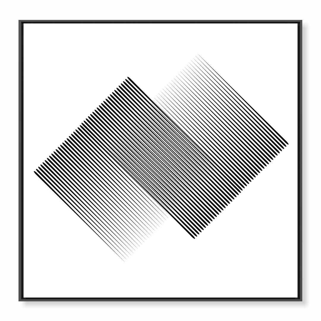 Quadro Decorativo Linhas Geométricas em Preto e Branco