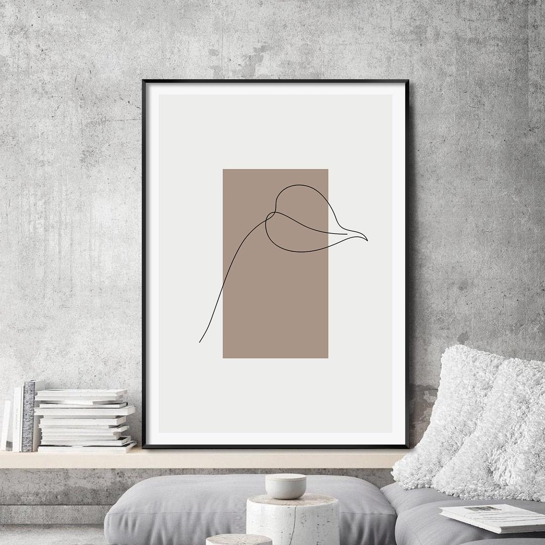Quadro Decorativo com Desenho de Folha em Linha Fina