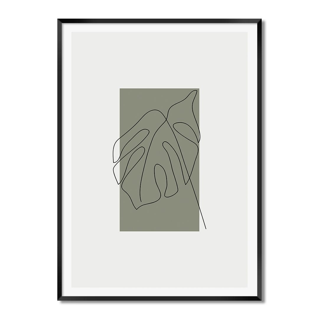 Quadro Decorativo Desenho de Folha em Linhas Finas