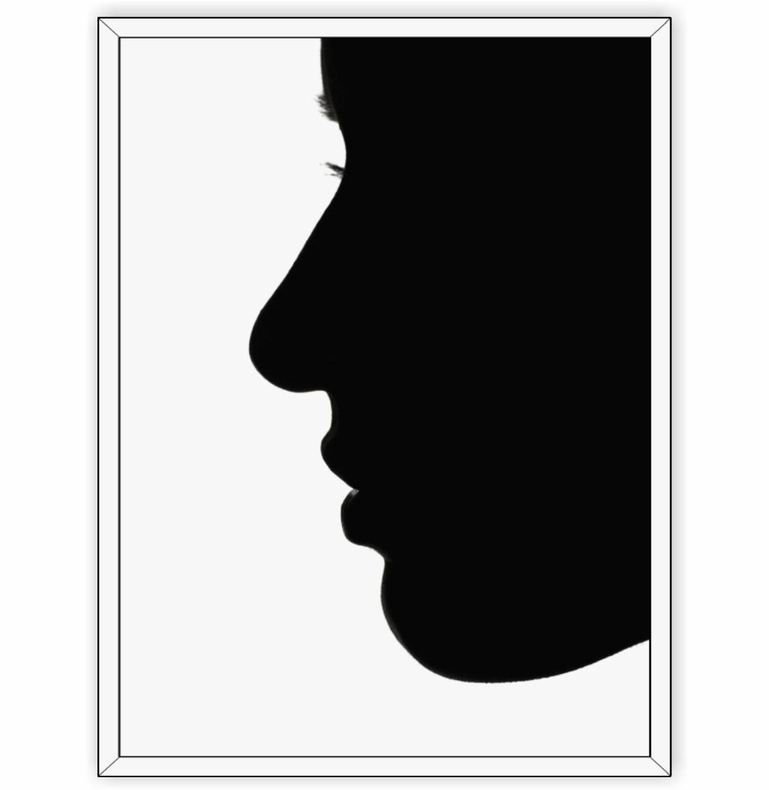 Quadro Decorativo Perfil Feminino em Preto e Branco