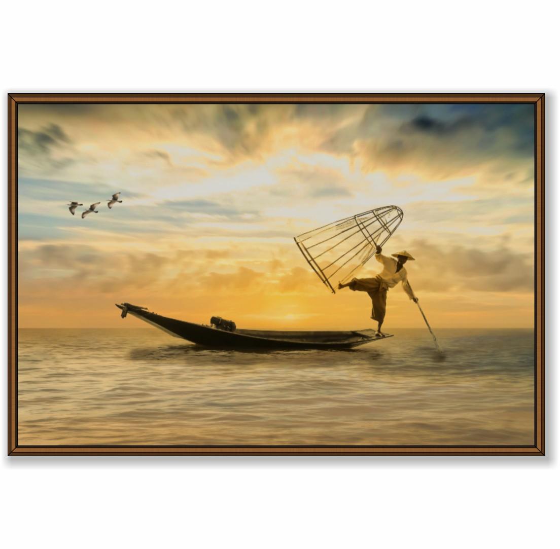 Quadro Decorativo Pescador no Mar