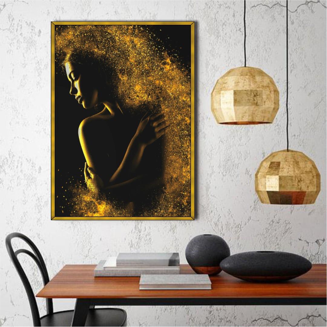 Quadro Decorativo Sensualidade Feminina em Preto e Dourado