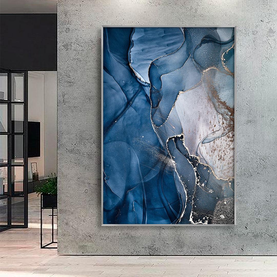 Quadros Decorativos Abstrato Marmorizado Azul
