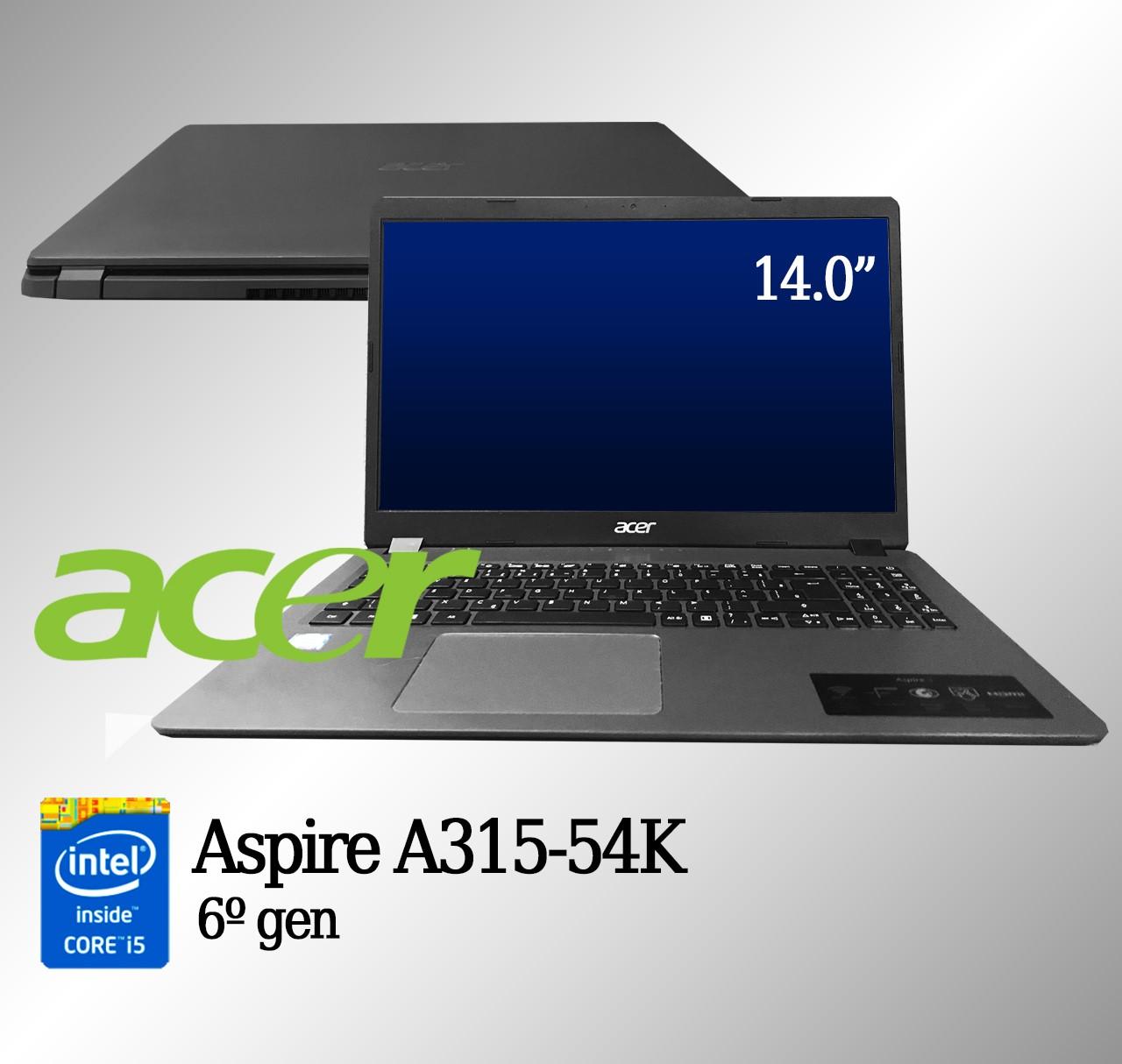 Laptop Acer A315-54K Intel i5 6a. Geração 4GB de memória RAM e 240GB de SSD