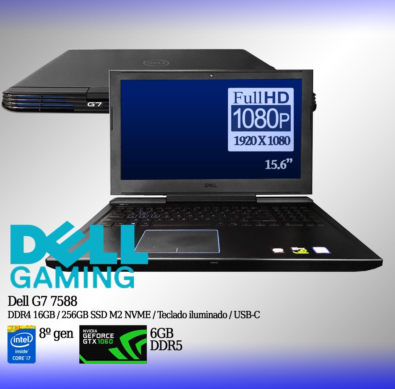 Laptop Dell G7 7588 Intel i7 8a. Geração 16GB de memória RAM, 256GB SSD M2 e 6GB de vídeo dedicado GeForce GTX 1060