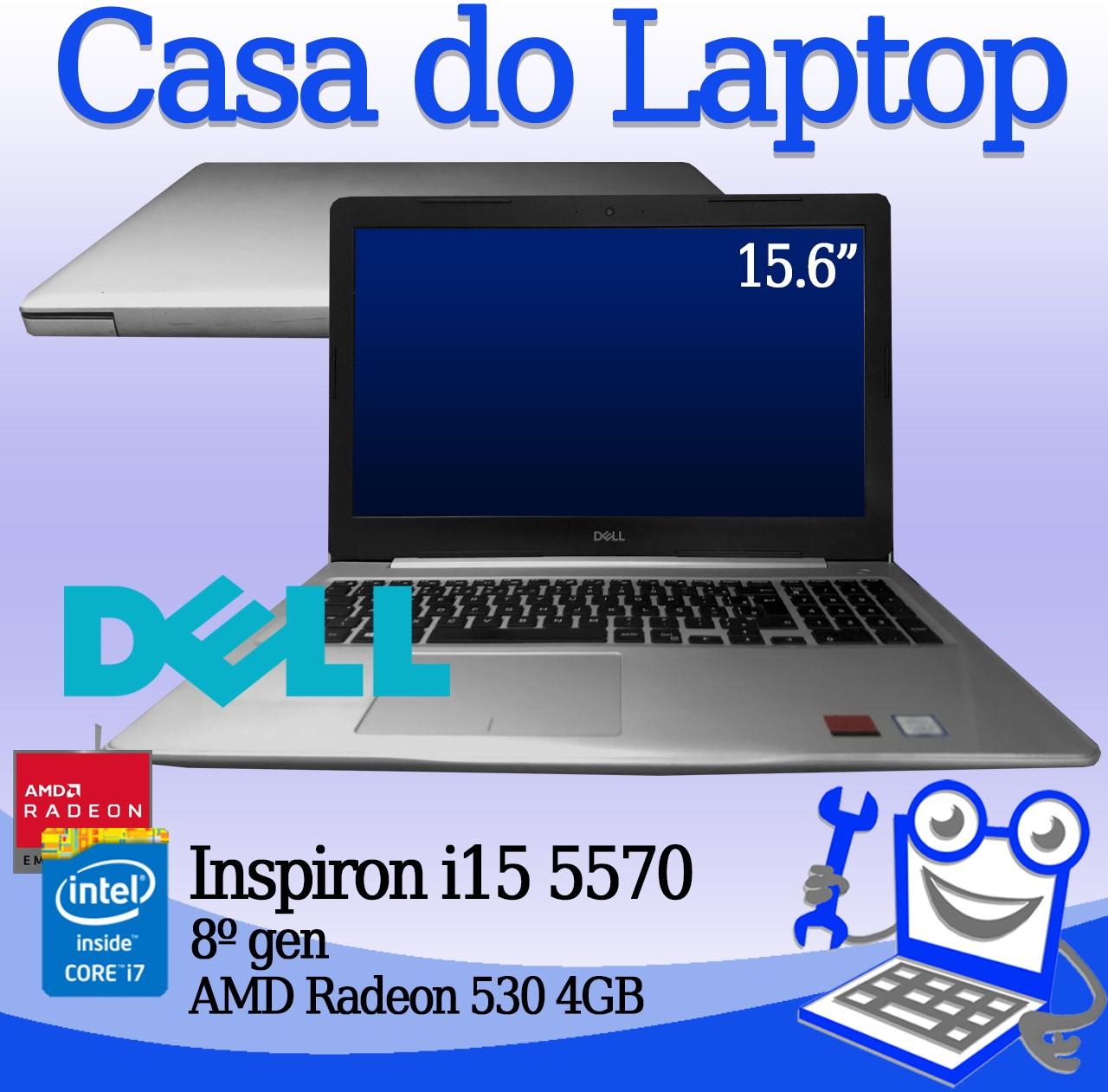 Laptop Dell Inspiron i15 5570 Intel i7 8a. Geração 8GB de memória RAM, 256GB SSD e 4GB de vídeo dedicado Radeon 530