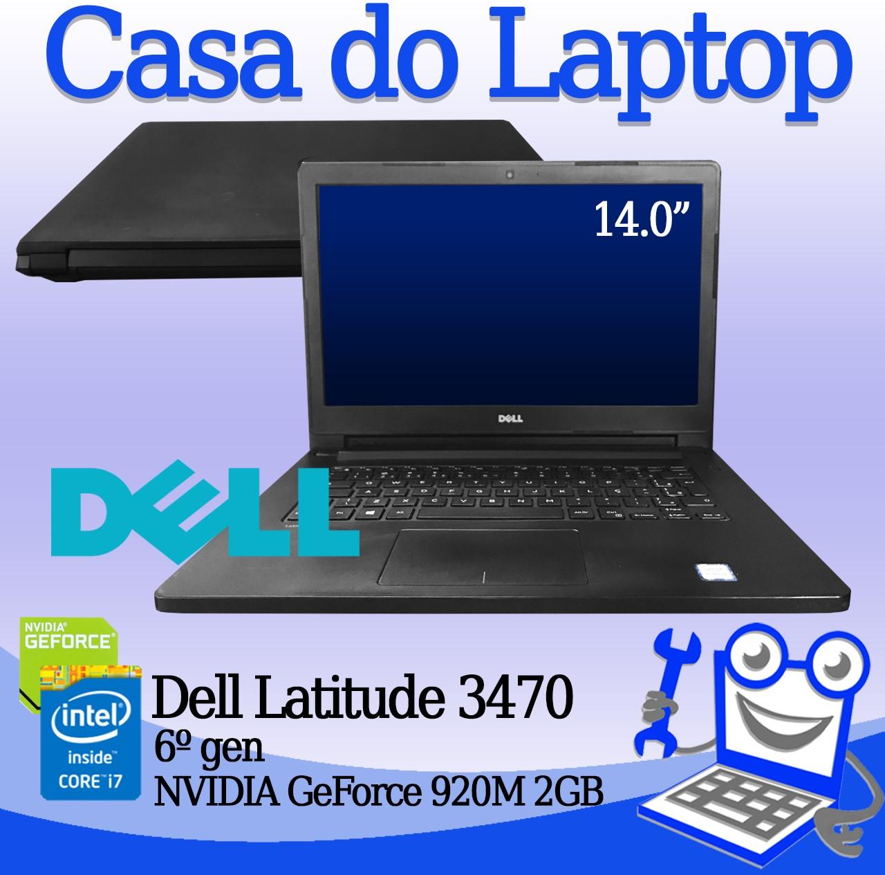 Laptop Dell Latitude 3470 Intel i7 6a. Geração 12GB de mémoria RAM, 120GB SSD e 2GB de vídeo dedicado GeForce 920M