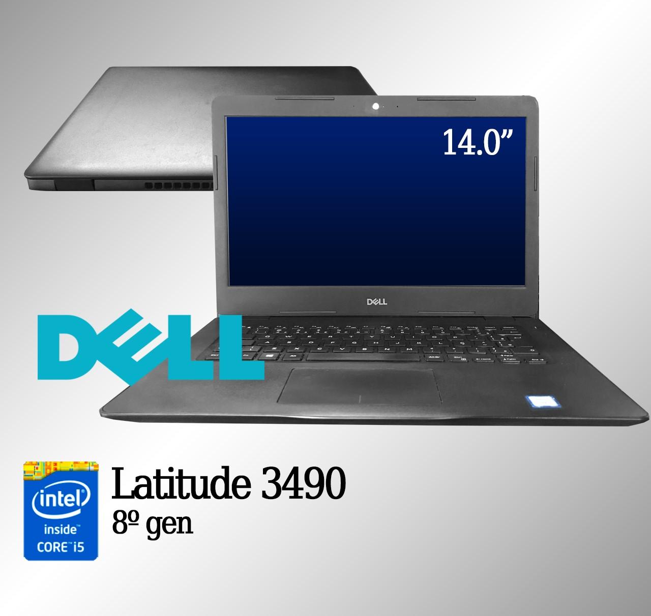 Laptop Dell Latitude 3490 Intel i5 8a. 8GB de memória RAM e 500GB de disco