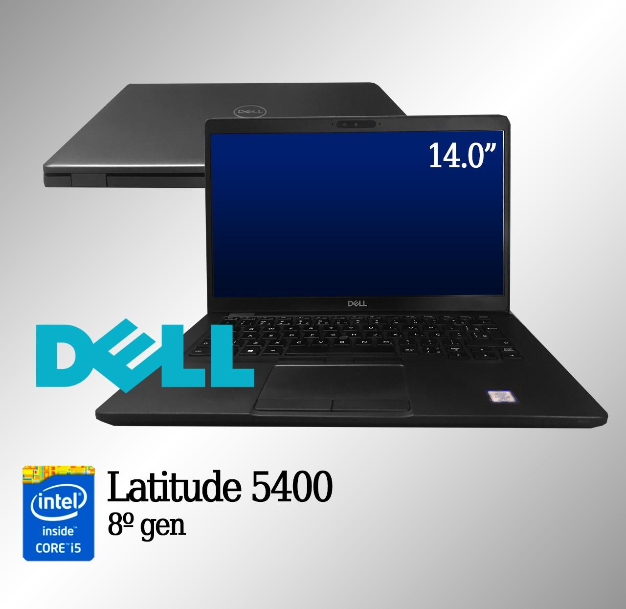 Laptop Dell Latitude 5400  Intel i5 8a. Geração 16GB de memória RAM e 256GB de disco.