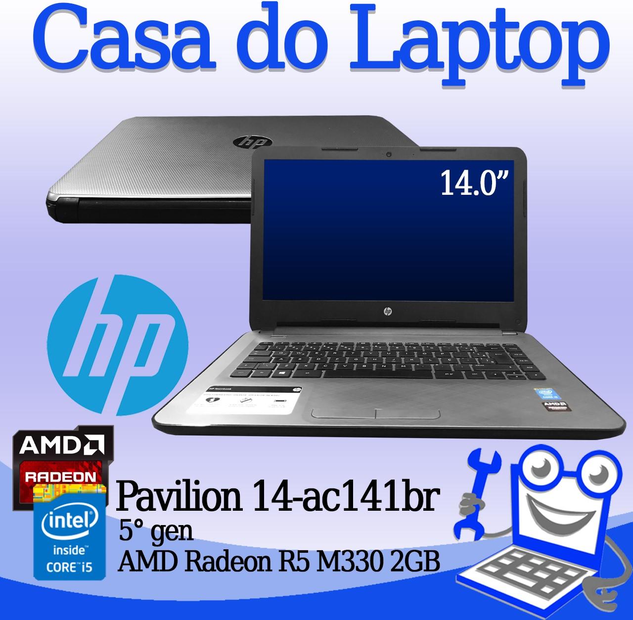 Laptop HP Pavillion 14-ac141br Intel i5 5a. Geração 8GB de memória RAM, 120GB SSD e 2GB de vídeo dedicado Radeon R5 M330