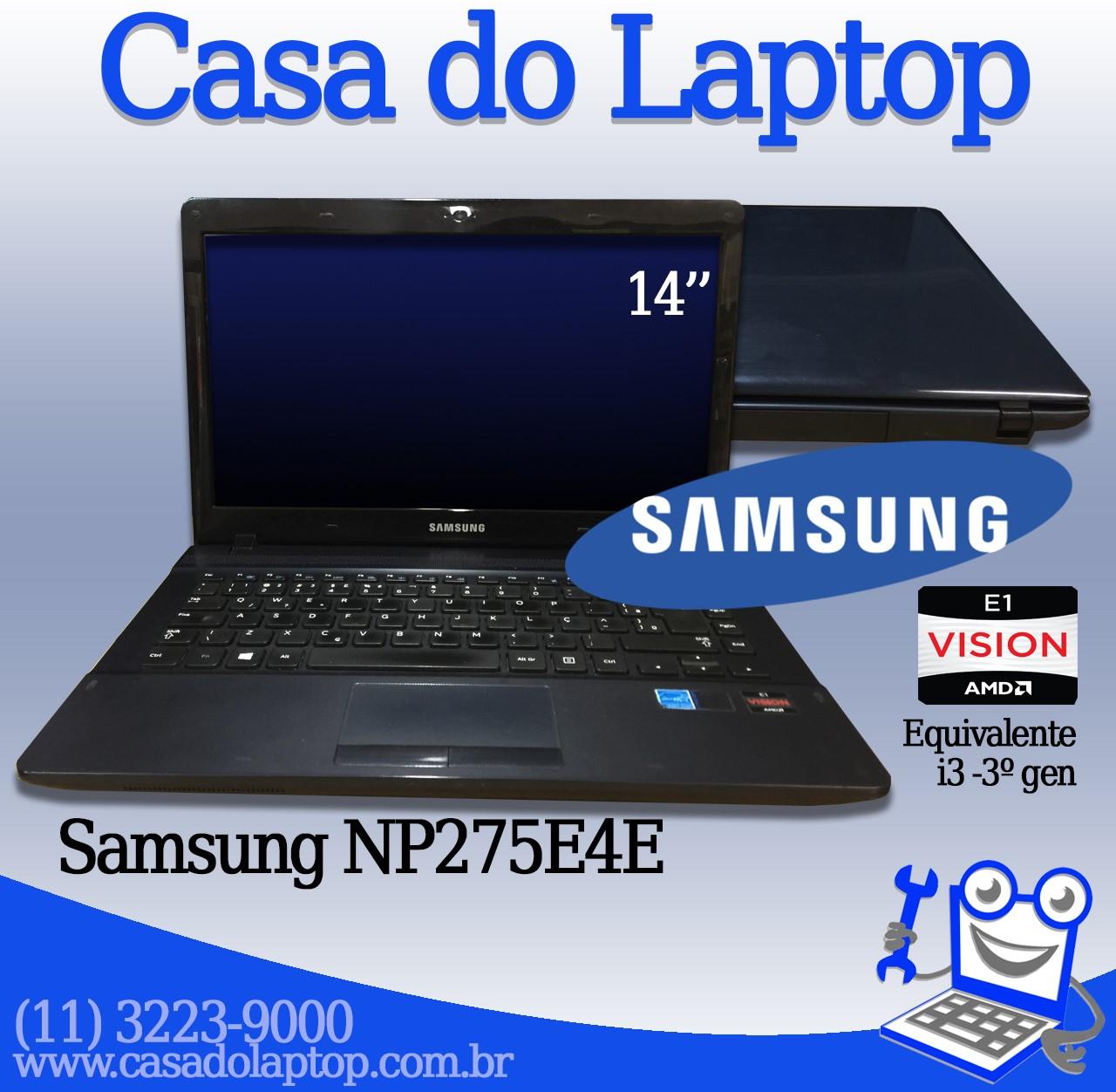 Laptop Samsung NP275E4E Processador AMD E1 4GB de memória RAM e 500GB de disco