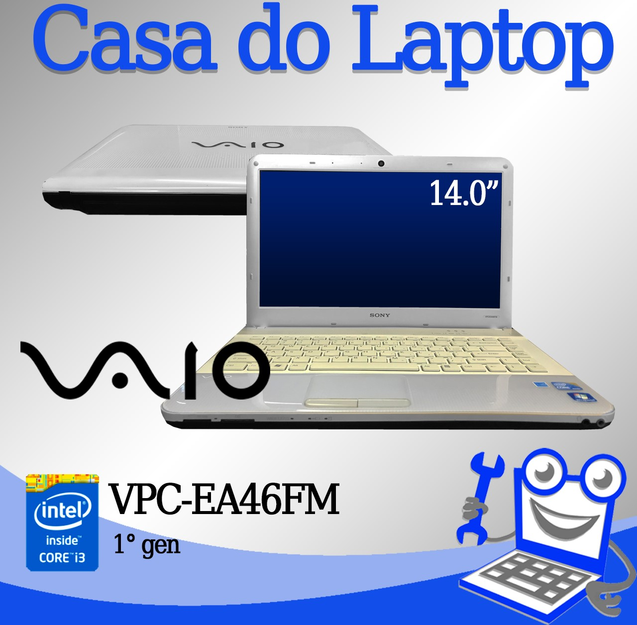 Laptop Vaio VPC-EA46FM Intel i3-1° Geração 4GB de memória RAM e 320GB Disco