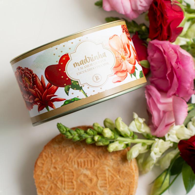 Lata Biscoitos Clássicos  - 200g | Coleção Florescer (Madrinha)