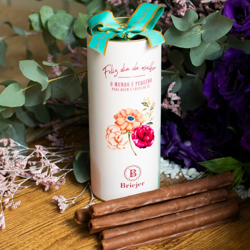 Lata Canudo Charutinho de Chocolate | Dia da Mulher (Rosa)