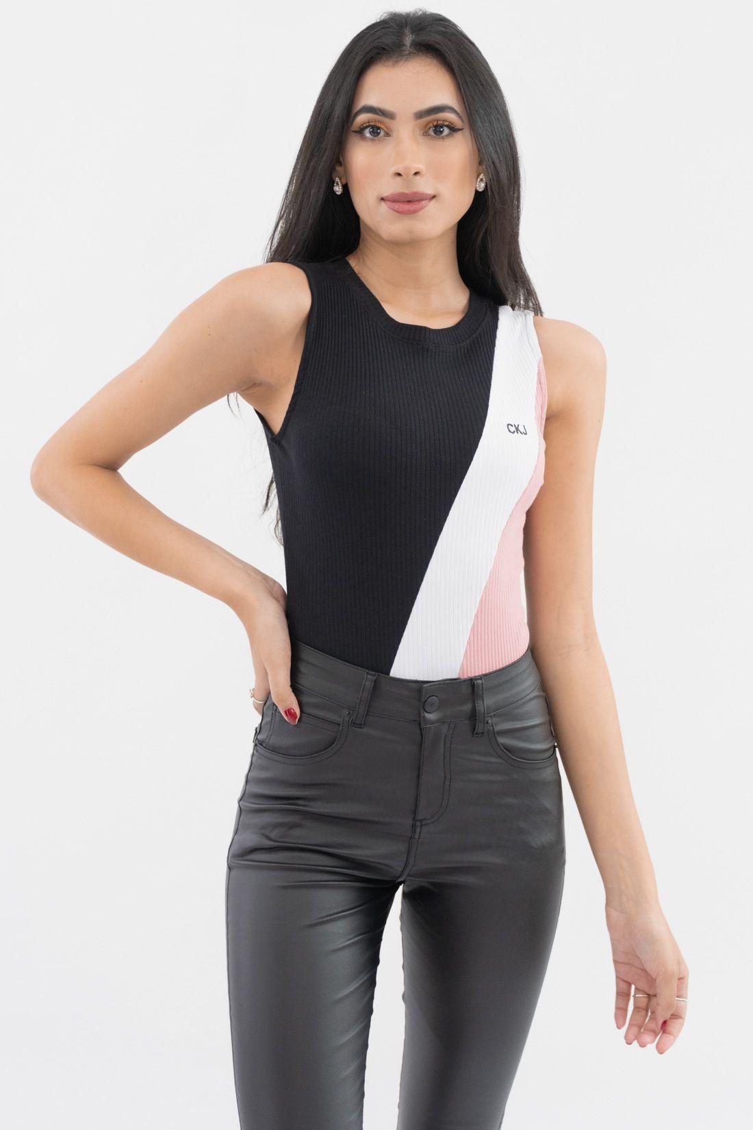 Body Calvin Klein Tricolor Canelado