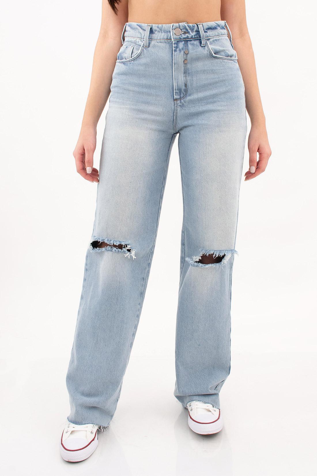 Calca Jeans Open Wide Leg Rasgos