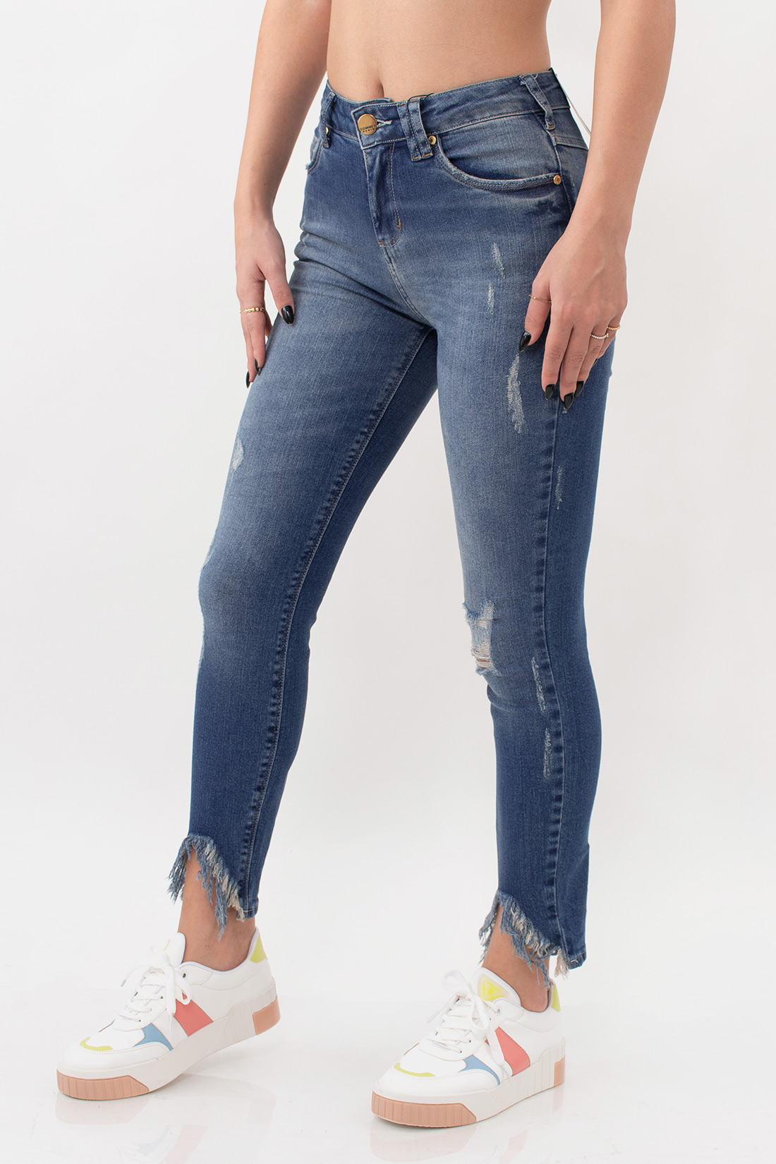 Calca Jeans Sommer Elis Cropped Barra Destroyed