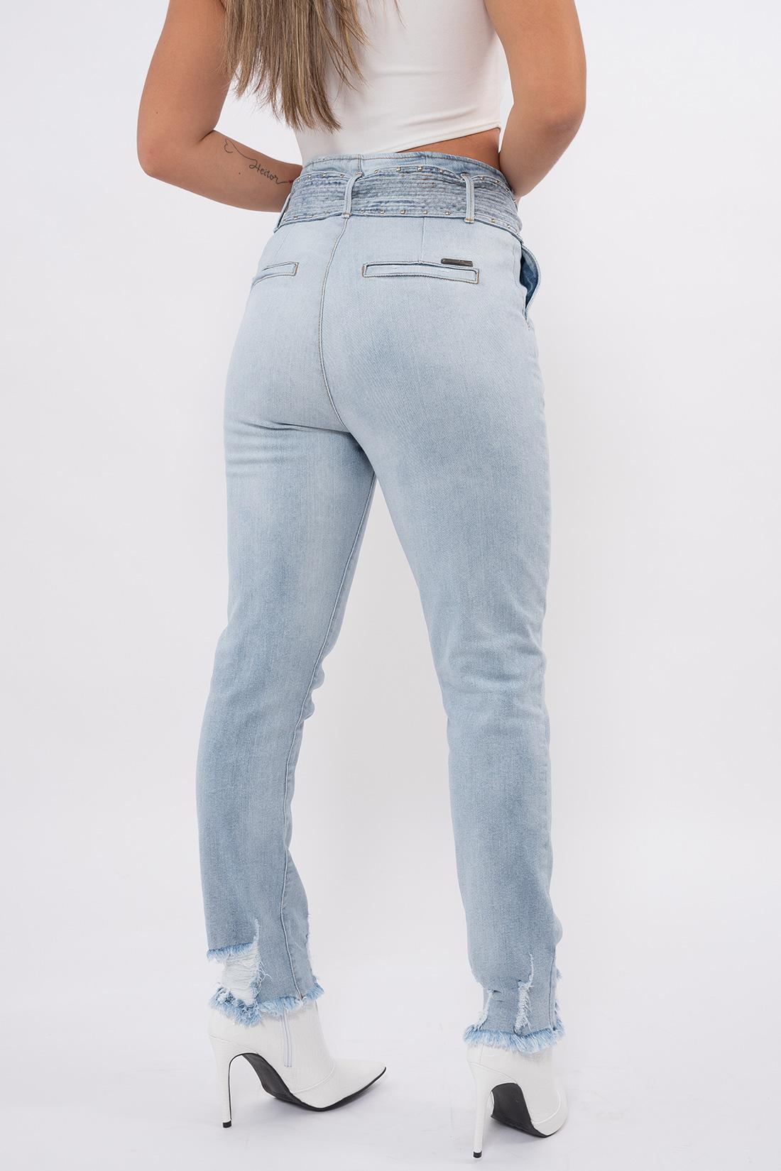 Calca Jeans Yexx Mom Cinto Apliques