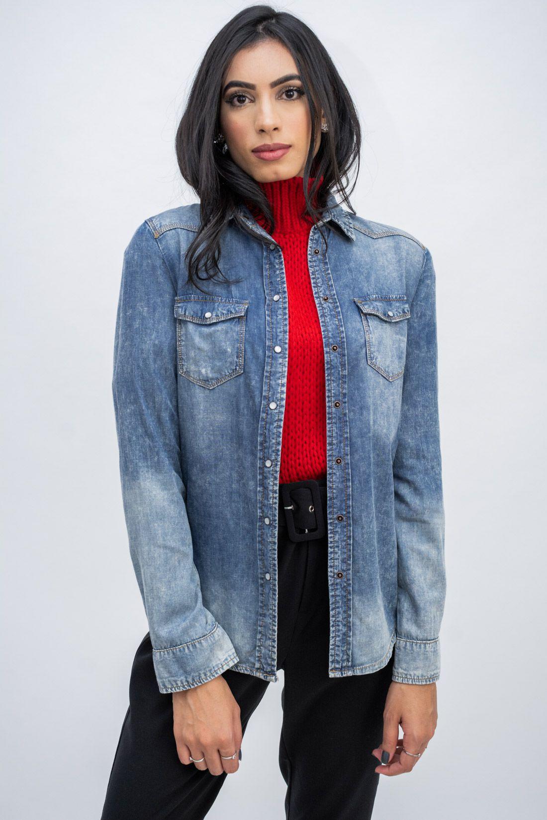 Camisa Jeans Ave Rara Bordada