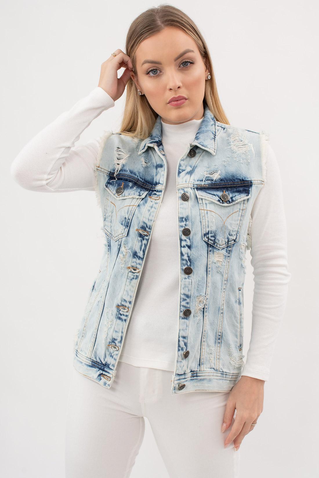 Colete Jeans Yexx Destroyed