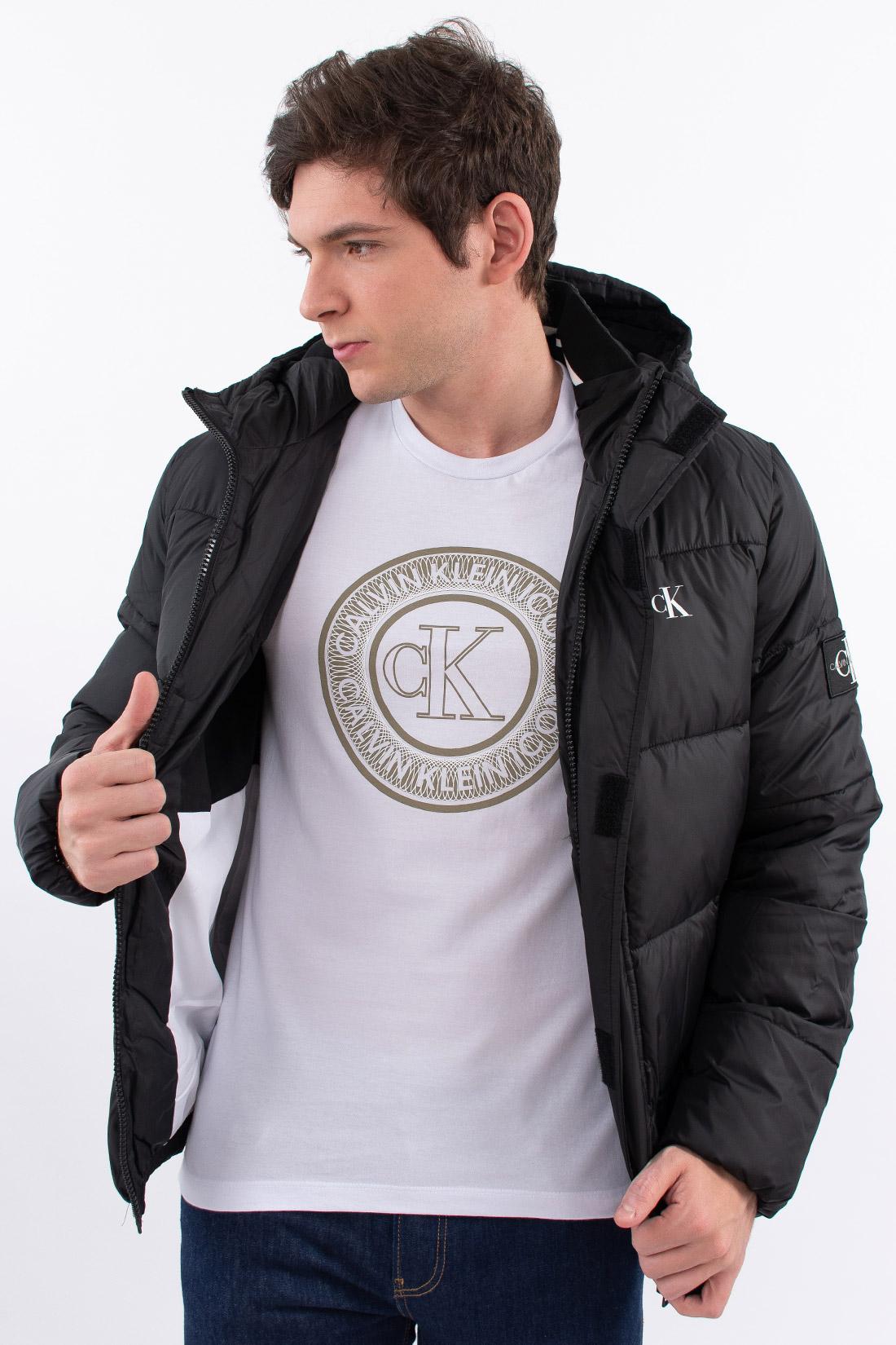 Jaqueta Calvin Klein Matelasse Logo Capuz