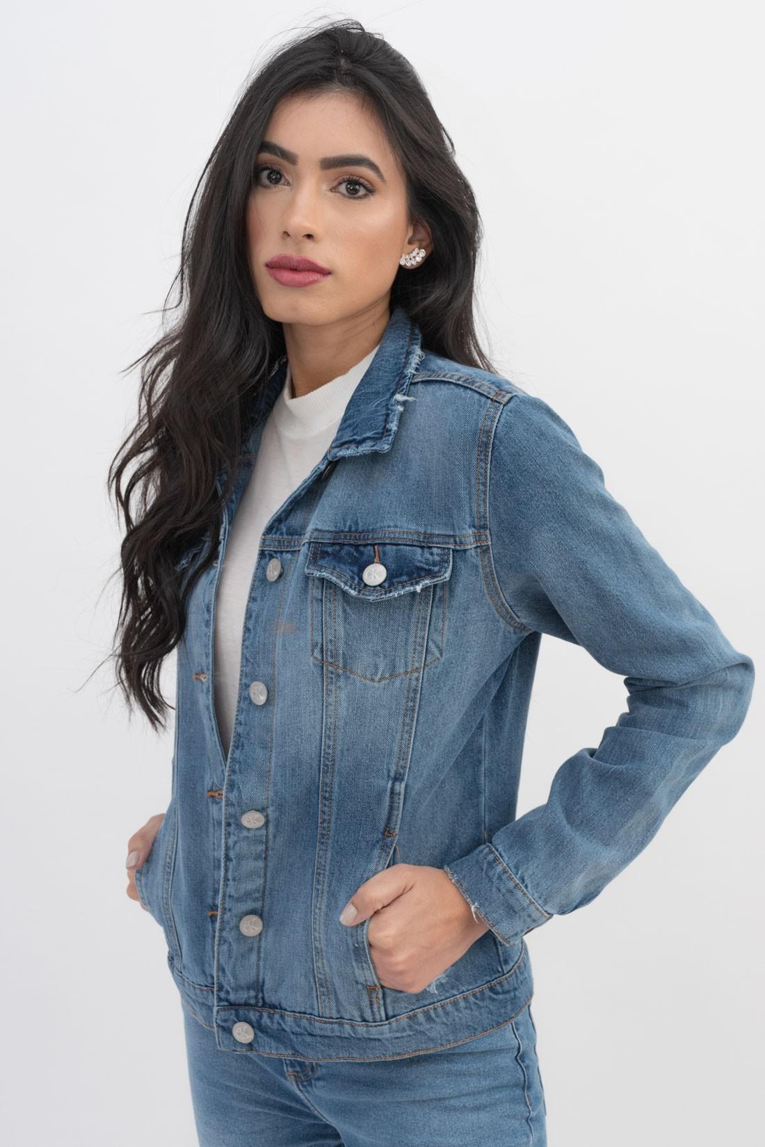 Jaqueta Jeans Calvin Klein Trucker Destroyed