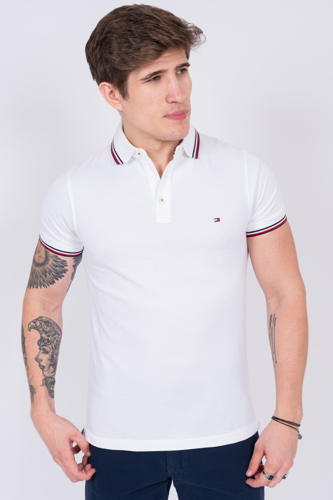Polo Tommy Hilfiger Gola Tricolor