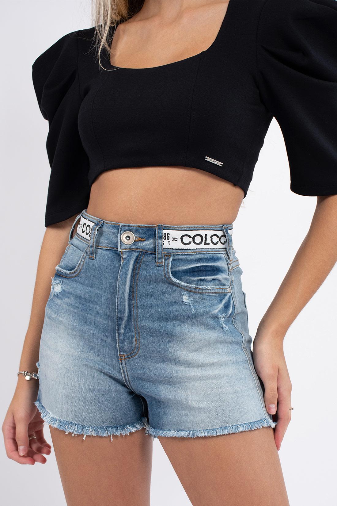 Shorts Jeans Colcci Bruna Stretch Logo Cos