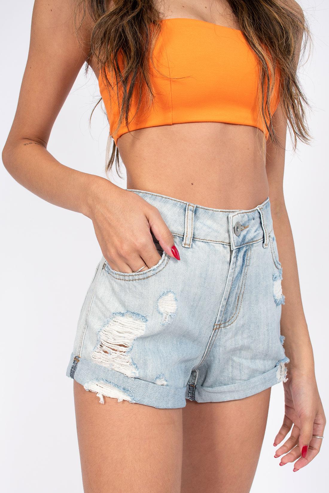 Shorts Jeans Colcci Luiza Destroyed Com Dobra