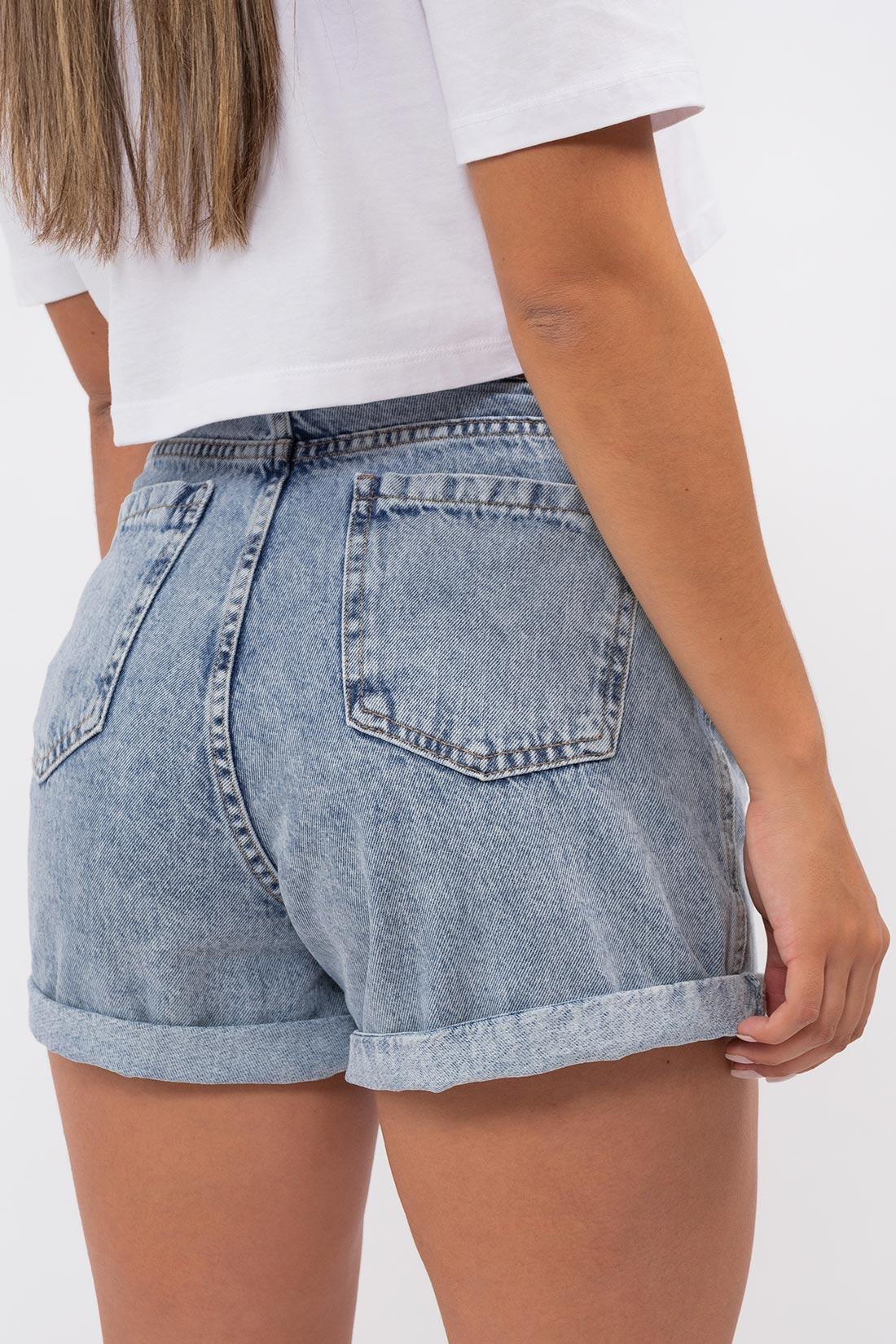 Shorts Jeans Hering Mom Barra Dobrada