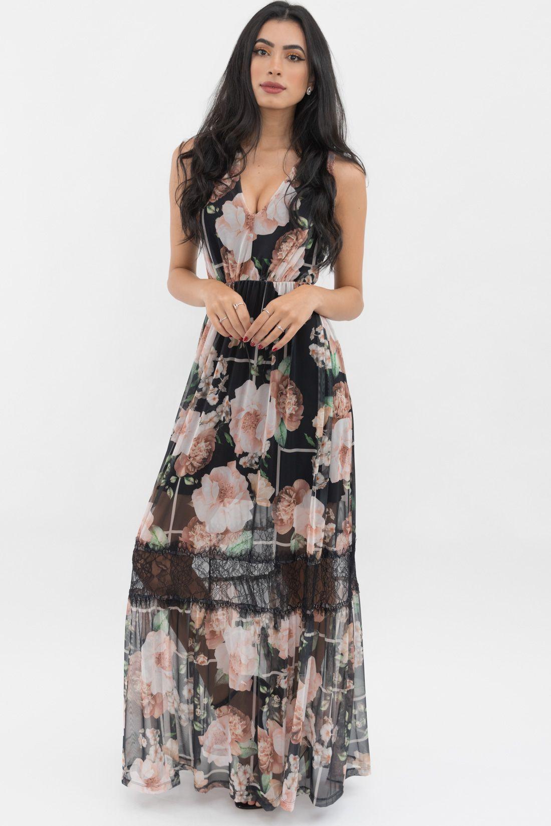 Vestido Longo Yexx Tule Floral