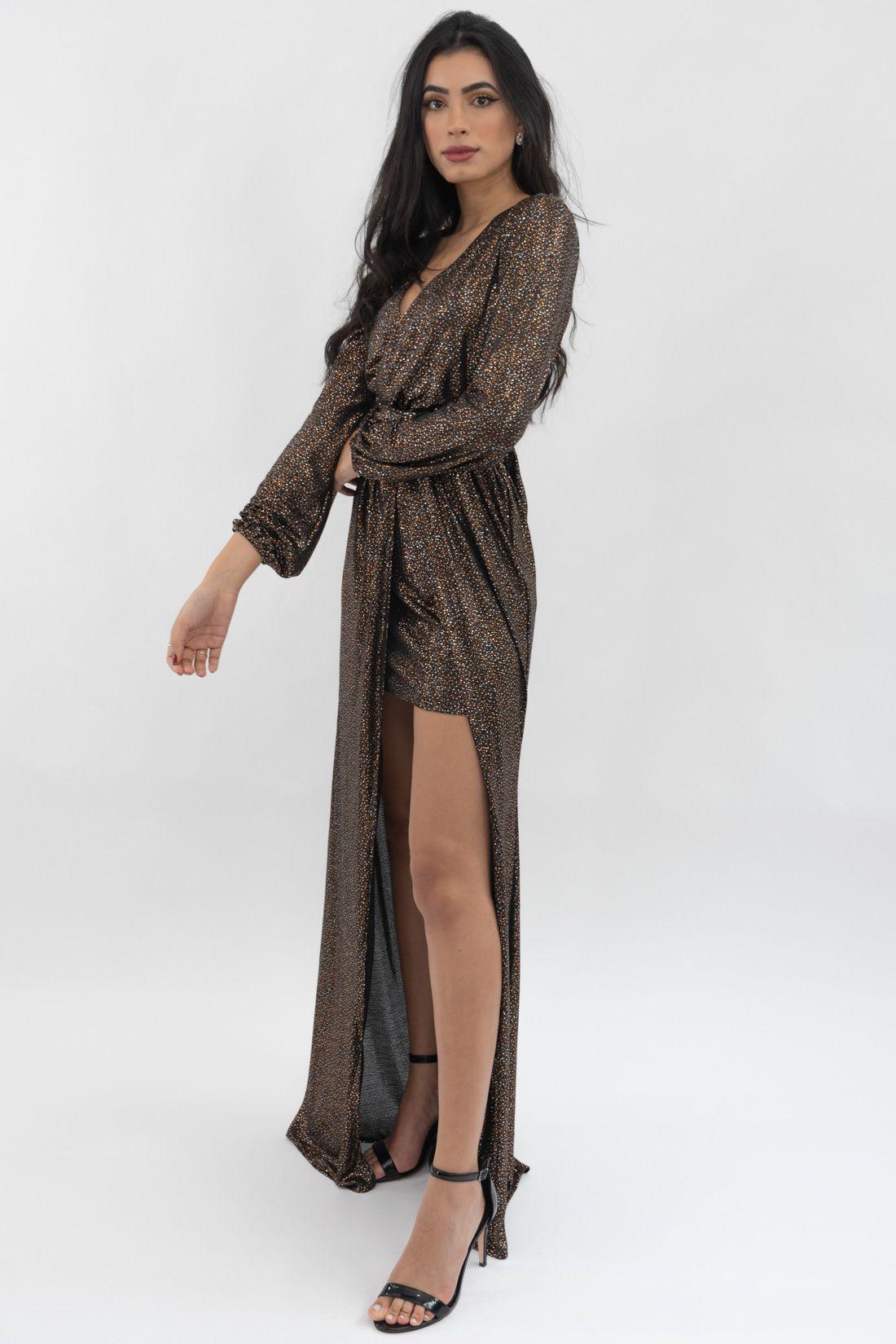 Vestido Ml Longo Slywear Brilho