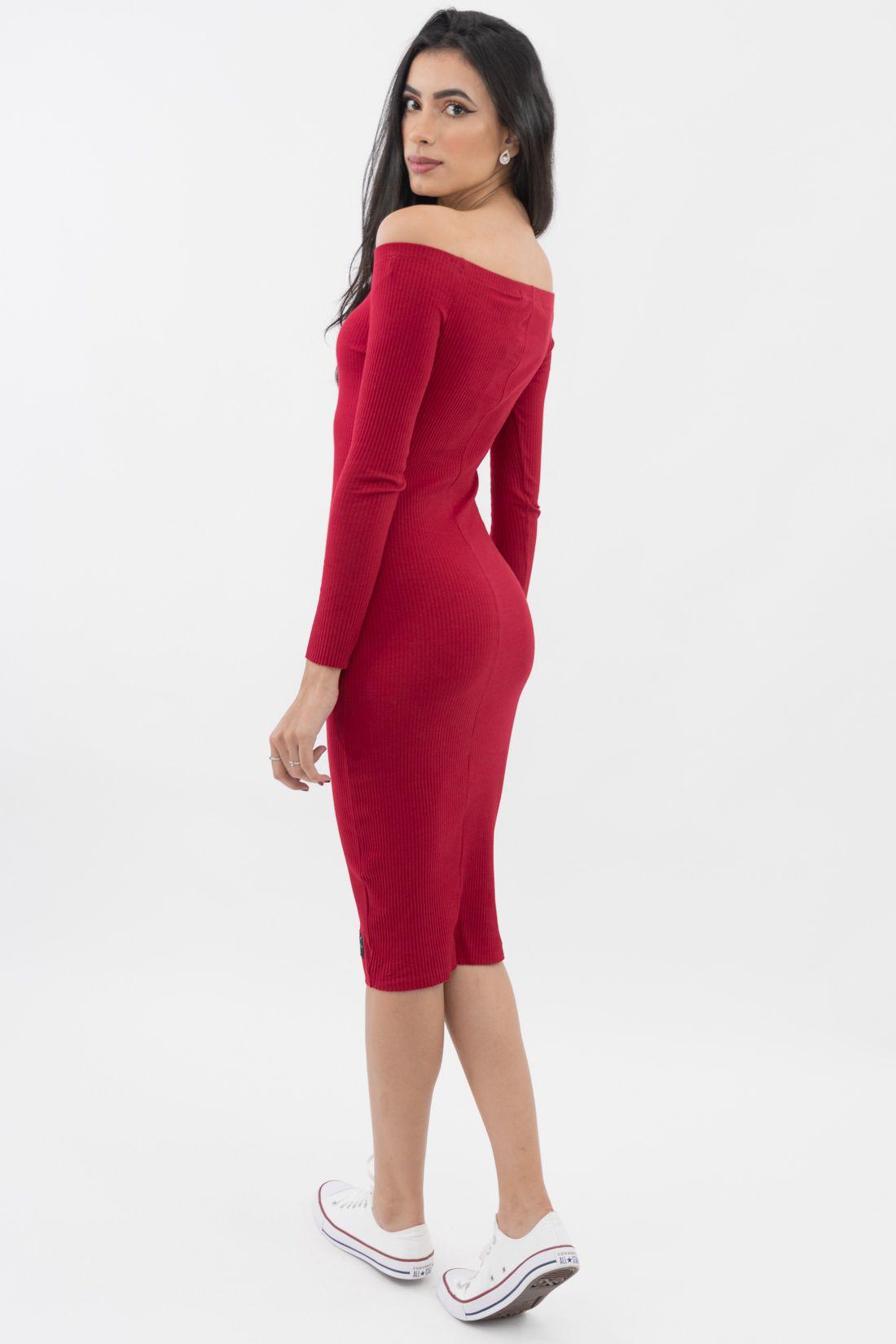 Vestido Ml Midi Calvin Klein Canelado