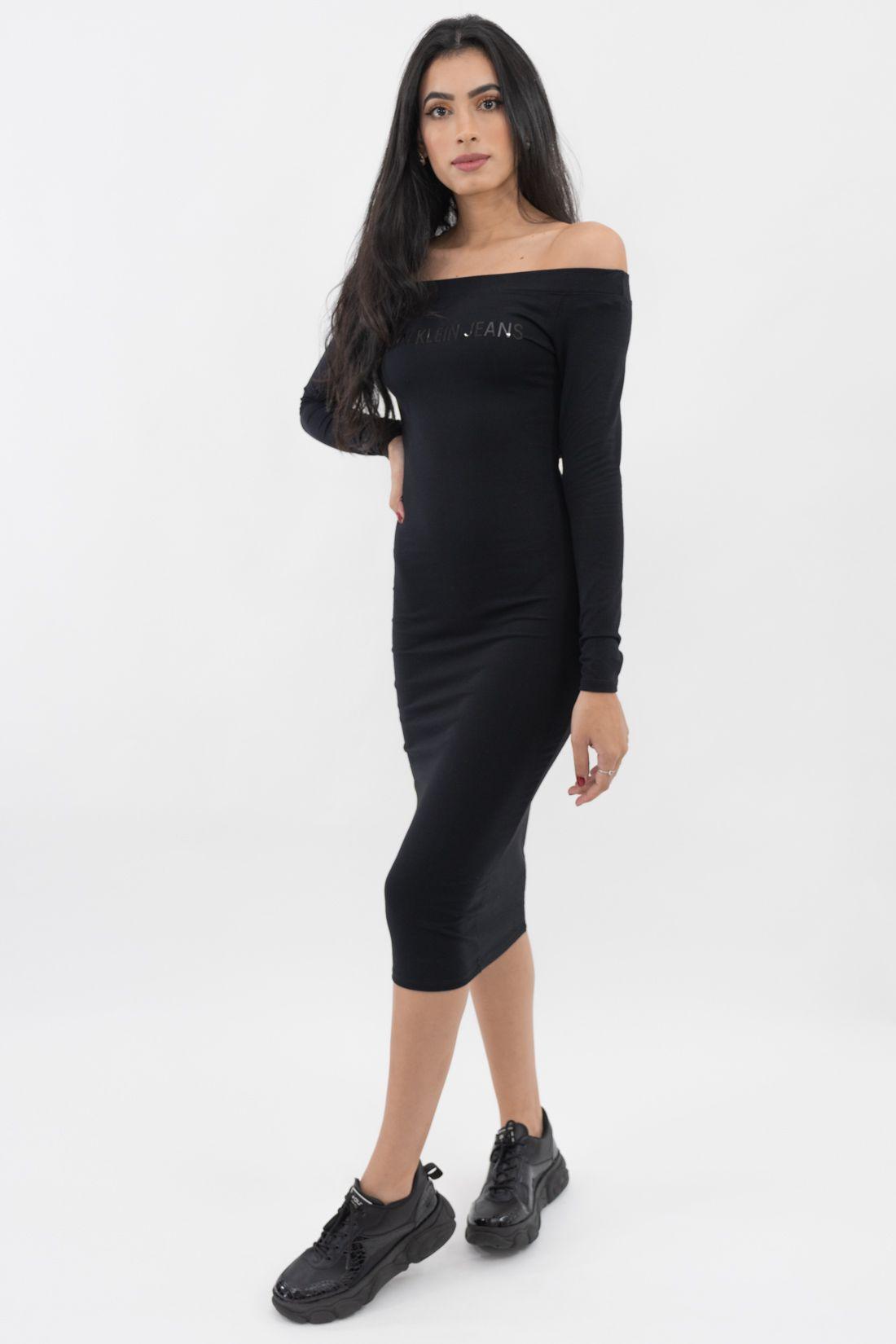 Vestido Ml Midi Calvin Klein Ombro A Ombro