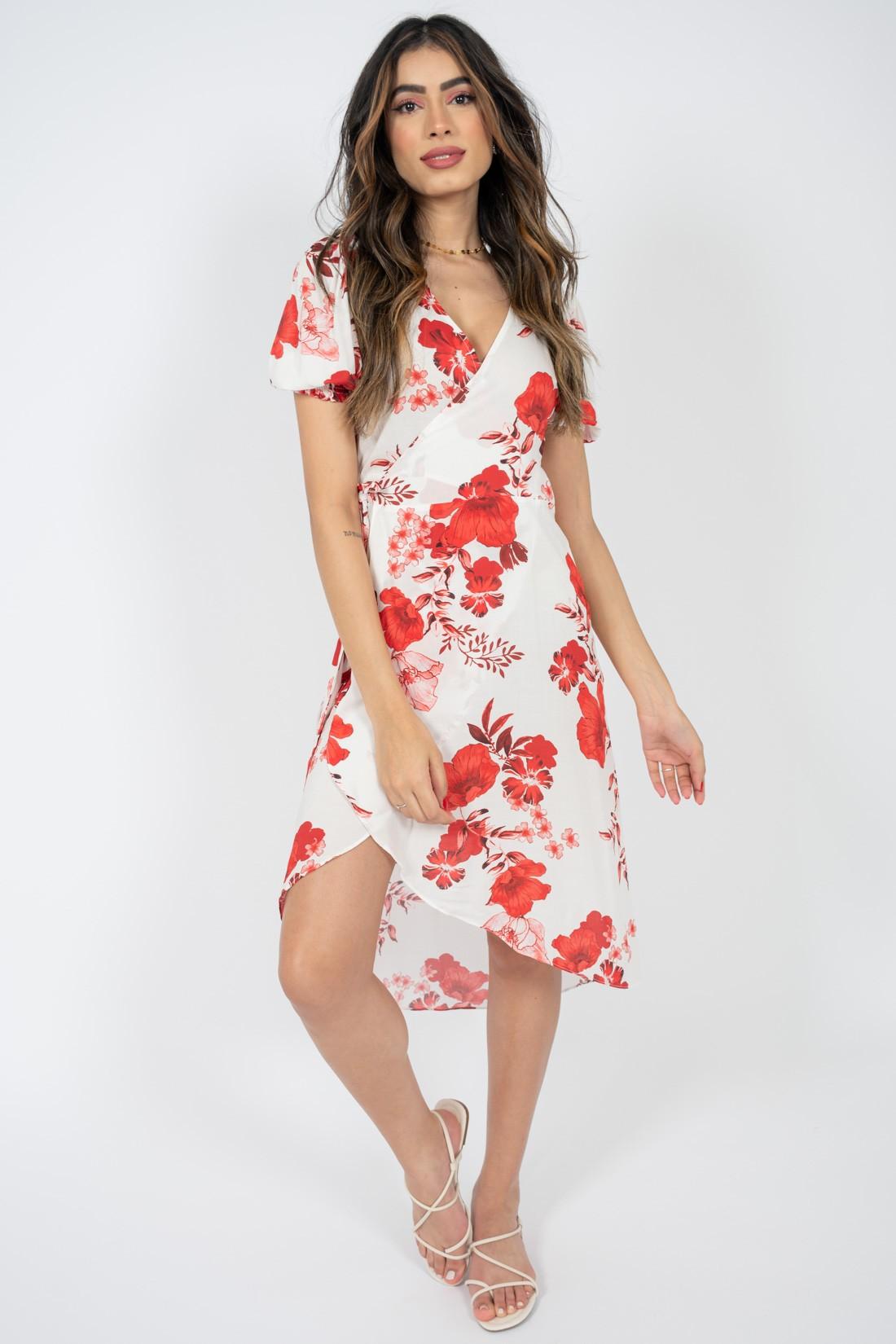 Vestido Slywear Transpassado Floral