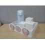 Kit Higiene Flores e Borboleta Madeira com Garrafa Térmica