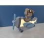 Luminária Abajur Ursinho Aviador de Mesa com Led Com ou Sem Fio