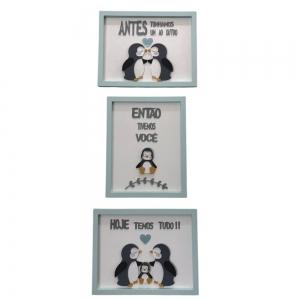 Trio de Quadros Pinguim