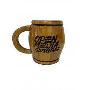 Caneca Artesanal Madeira Cerejeira 400 ml Chopp Cerveja Personalizada Sua logo ou Nome