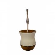 Cuia Madeira bicolor imbuia branca e bomba inox pedra branca