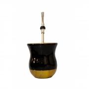 Cuia Madeira bicolor imbuia preta e bomba inox pedra preta
