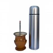 Kit cuia porongo clara porta cuia em couro boca abertol alpaca, bomba inox alpaca e térmica 0,950L
