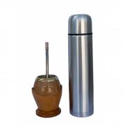 Kit cuia porongo clara porta cuia em couro bocal alpaca, bomba inox alpaca e garrafa 0,950L