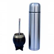 Kit cuia revestida couro com bocal alpaca, bomba inox banho alpaca e garrafa 0,950L