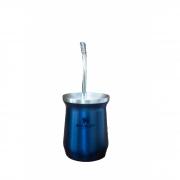 Kit cuia Termica Nightfall Classic Mate Azul 236ml e bomba inox