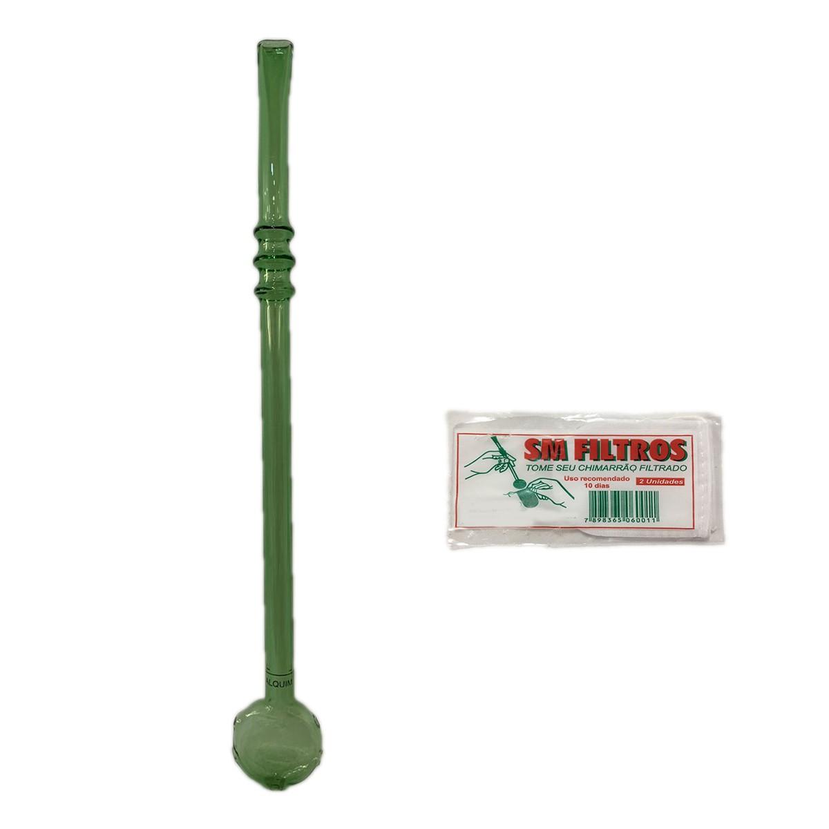 Bomba Chimarrão de Vidro Verde com 23 cm de altura