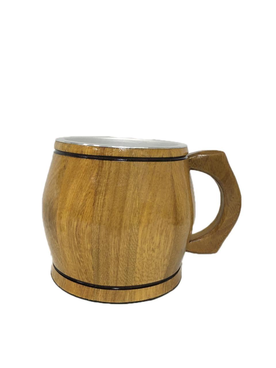 Caneca Artesanal de Madeira Cerejeira 1 Litro Chopp Cerveja