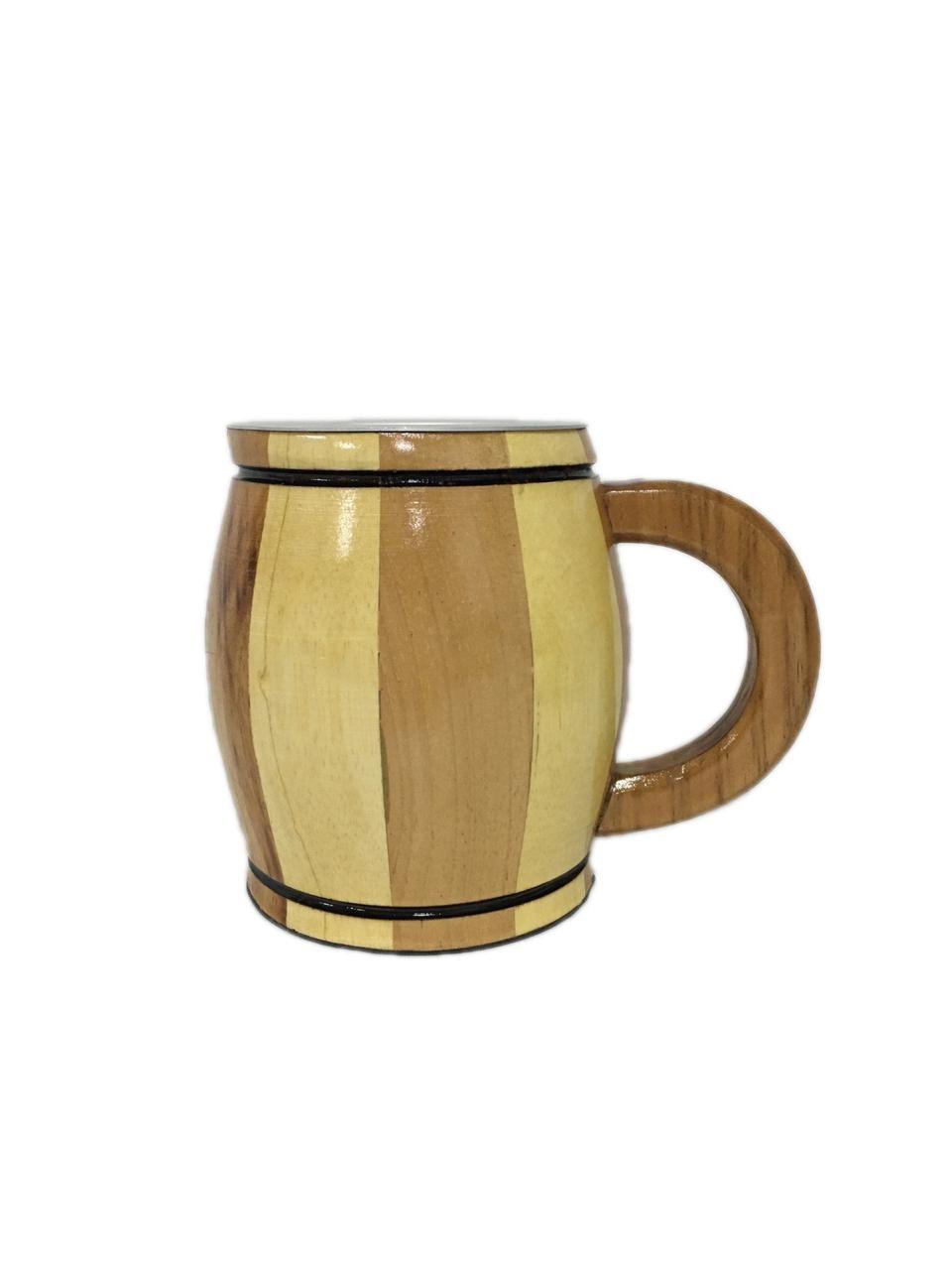 Caneca Artesanal de Madeira Mesclada 400 ml Chopp Cerveja