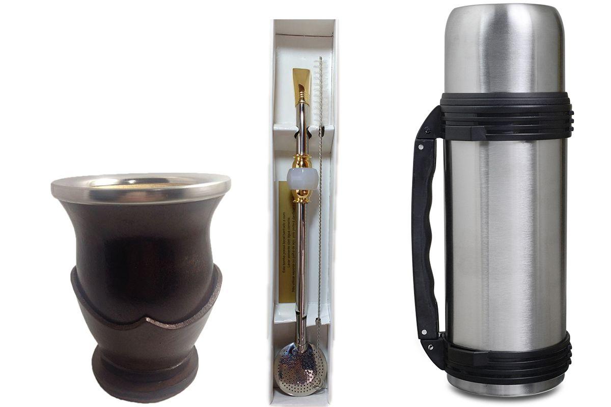 Conjunto chimarrão cuia bomba aço inox pedra e térmica 1 litro